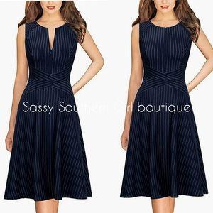 ⭐🆕 Navy pinstripe aline dress